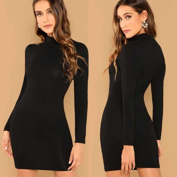 09e3776c38d SHAY Black Mock Neck Bodycon Dress